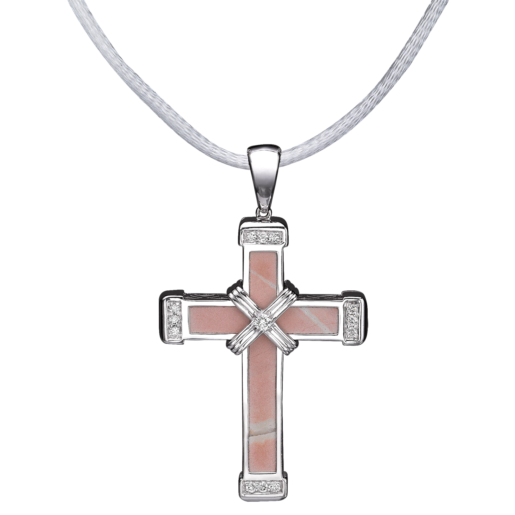 The Eternity Classic Vermeil Cross - White Gold - White Diamonds - Medium