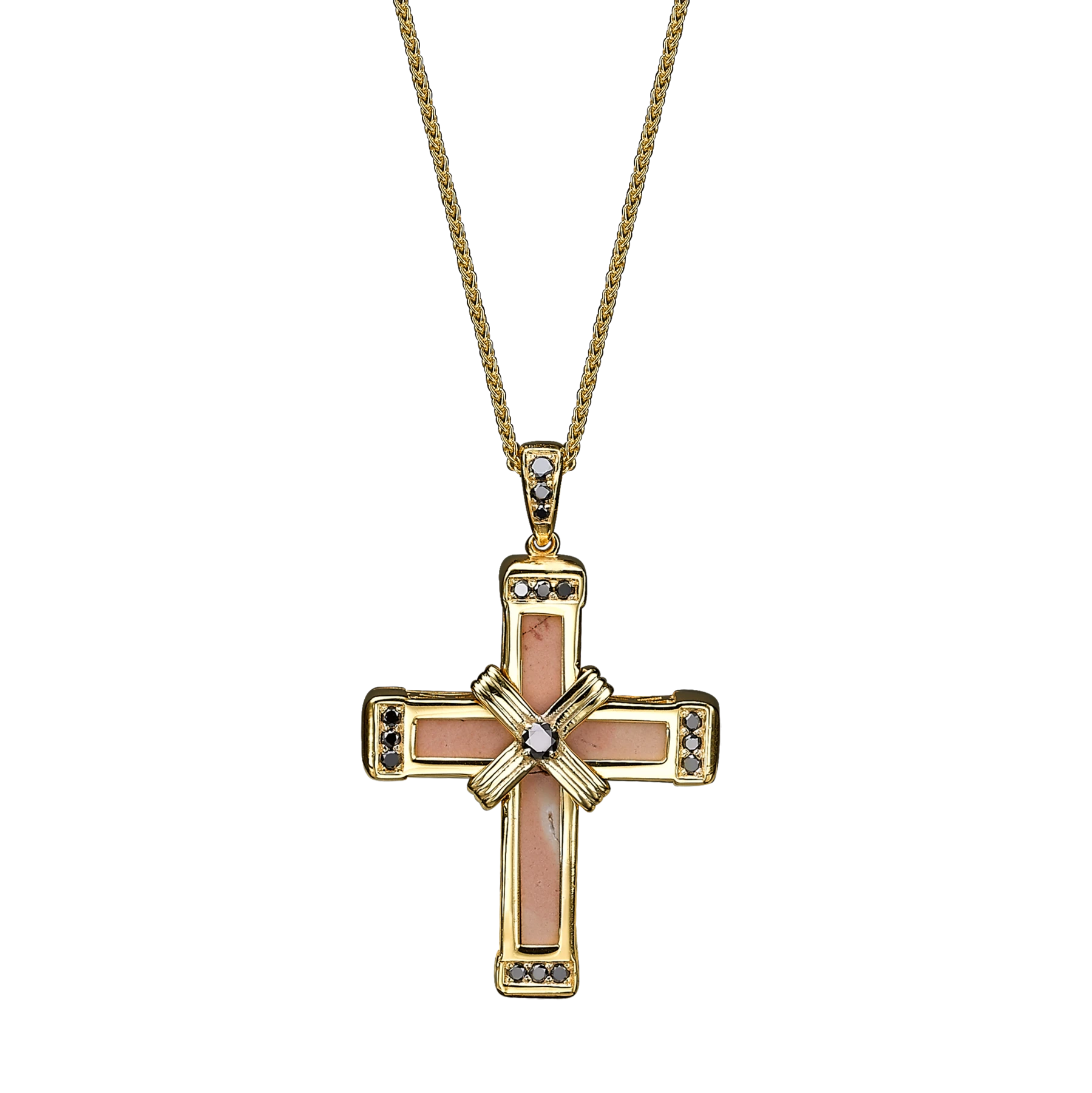 The Eternity Classic Cross - Yellow Gold - Black Diamonds - Small