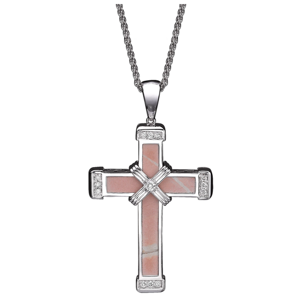 The Eternity Classic Cross - White Gold - White Diamonds - Medium