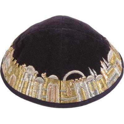 Jerusalem Gold Velvet Embroidered Kippah